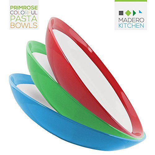 Primrose Colorful Pasta Bowls by Madero Kitchen - Set of 6 PREMIUM Ceramic Pasta Bowls - 9.3 Inches - 100% Secure Packaging - BEAUTIFUL DESIGN and 6 DIFFERENT COLOURS! Also individual items available.
