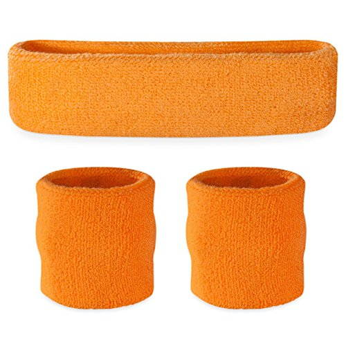 Suddora Sweatbands (Headband Wristband Set) - Terry Cloth Athletic Sweat Bands for Basketball, Tennis, Working Out, Gym