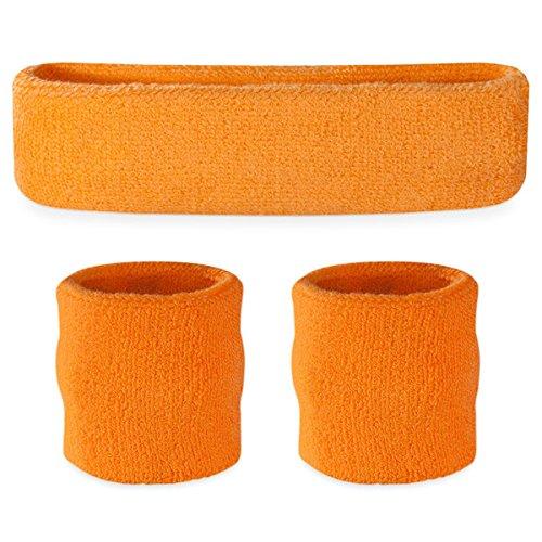 Suddora Neon Orange Headband / Wristband Set - Sports Sweatbands for Head and - And Orange Neon Pink