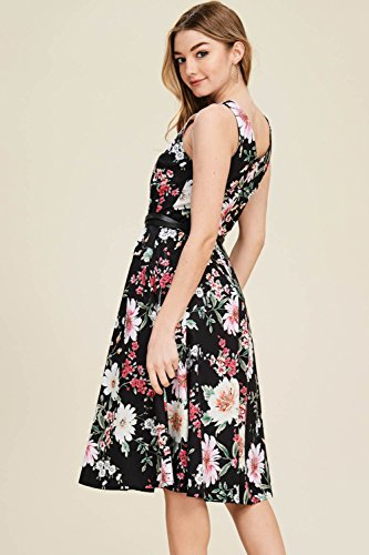 Floral Neck A Swing Line Print Vintage Annabelle Women's Poplin with Dresses Black Boat dc3167b Pockets xHwzCqY