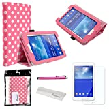 Foxnovo 4 in 1 Polka Dots Pattern PU Flip Case Cover Stand Set for Samsung Galaxy Tab 3 7.0 T110 /T111 with Screen Protector, Stylus Pen and Cleaning Cloth (Pink)