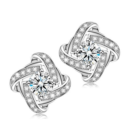 NINASUN Gifts for Women Earrings Silk of Love s925 Sterling Silver Stud Earrings 3A CZ Fine Jewelry for Women Birthday Gifts for Her Teen Girls Anniversary Gifts for Wife Girlfriend Gifts for Mom Sis