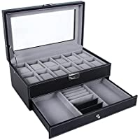SONGMICS Black Watch Box 12 Mens Watch Organizer Jewelry Display Case Faux Leather Drawer & Lock UJWB012