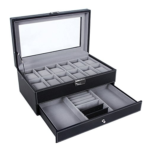 SONGMICS 12 Slots Watch Box Watch Organizer Lockable Jewelry Display Case with Real Glass Top Faux Leather