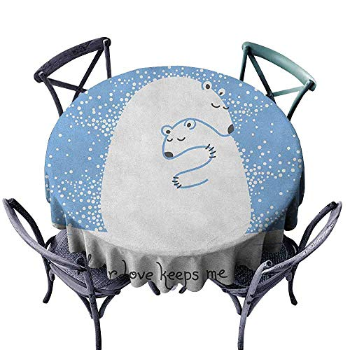 (G Idle Sky Animal Wrinkle Resistant Tablecloth Mother Polar Bear Hugging Her Baby in The Snow North Winter Love Valentines Art Easy Care D63 Blue White)