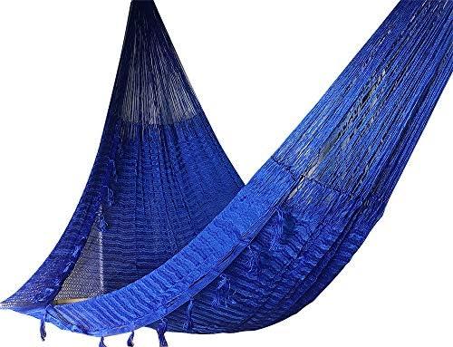 jjcarolina Large Handmade Mayan Hammock – Heavy Duty Woven Cotton Yucatan Hammocks for Outdoor Indoor Patio Backyard Family Queen Size 15 feet – Tassel Decor on Border for 2 Person Dark Blue