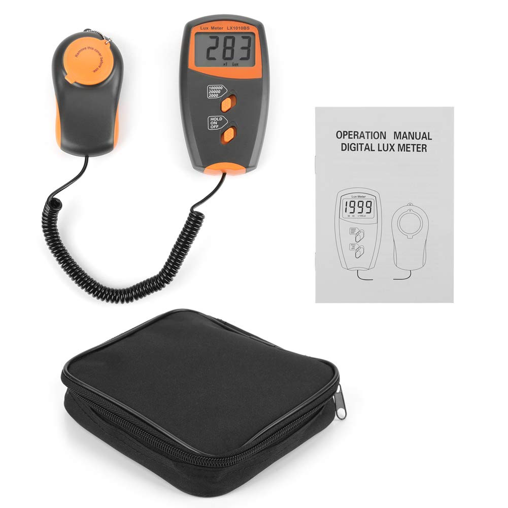 Akozon 1010BS Digital Luxmeter, LCD Display Light Meter Environmental Testing Illuminometer- 3 1/2 Digits LCD Display -1-100,000Lux/20,000Lux/100,000Lux Range