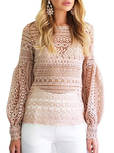 Simplee Apparel Women 's Autumn Casual Loose Lantern Sleeve Geometric Hollow Out Floral Lace crochet shirt Top Beige
