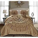 7 piece marisela discoid flower handwork solid color comforter sets king gold