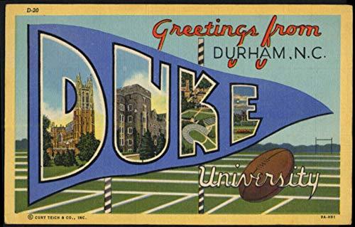 Greetings from DUKE UNIVERSITY Durham NC Large Letter postcard 1944