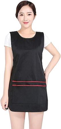Bata Uniforme de Trabajo Sin Mangas con Bolsillos para Sal/ón de Belleza Peluqueria Negro Pinji Babero Delantal de Cocina Impermeable para Hombre y Mujer