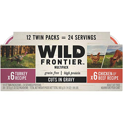 Wild Frontier Perfect PORTIONS Grain Free Natural Adult Wet Cat Food Cuts in Gravy Chicken & Beef and Turkey Recipes Variety Pack, (12) 2.6 oz. Twin-Pack Trays