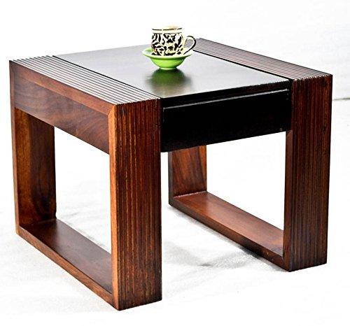 Daintree TimberTaste Nova Solid Wood Side Table  Teak and Walnut Finish