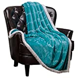 #2: Chanasya Super Soft Ultra Plush Healing Thoughts Warm Hugs Posivite Energy Comfort Caring Gift Teal Microfiber Throw Blanket ( 50