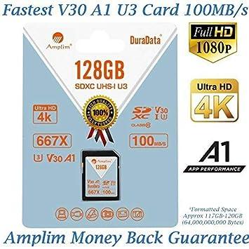 Amazon.com: Amplim 64GB 128GB SDXC Tarjeta SD (V30 A1 U3 UHS ...