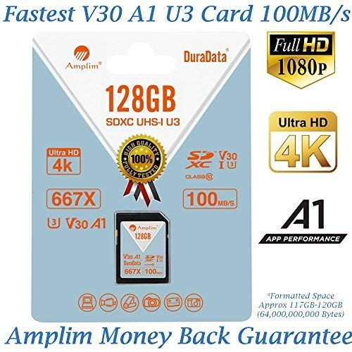 (Amplim 128GB V30 A1 SDXC SD Card (U3 UHS-I Class 10 Extreme Pro) 128 GB Ultra High Speed 667X 100MB/s UHS-1 XC Flash Memory Storage for HD/UHD/4K Videos - Cameras, Computers, Camcorders. 128G)