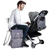 SUNVENO Baby Diaper Bag Diaper Changing Backpack Waterproof Multi-Function Organizer Large Capacity Travel Bag (Gray)