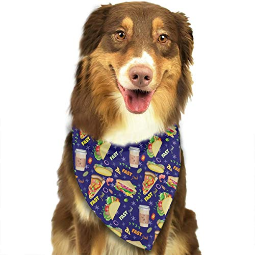 ANYWN Pet Dog Bandanas Triangle Bibs Scarfs Coffee Sandwiches Slices Pizza Hot Dogs Tacos Accessories for Puppies Cats Pets Animals Large -