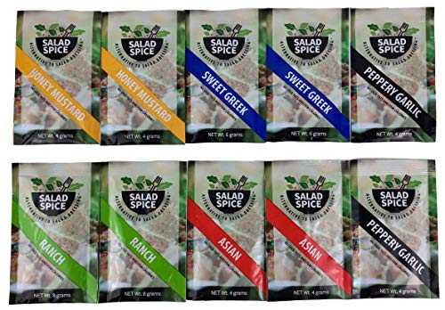 Salad Spice Salad Dressing, Low Carb, Low Calorie - 10 Single Serve On-the-Go Packets to Spice Up Your Meals - (Variety Pack)