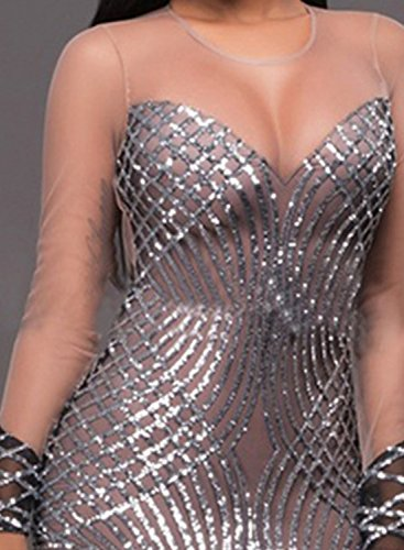 Club Panel Sequins Mesh Achicgirl Silver Sleeve Women's Long Bodycon Dress 0Cqvwn1A