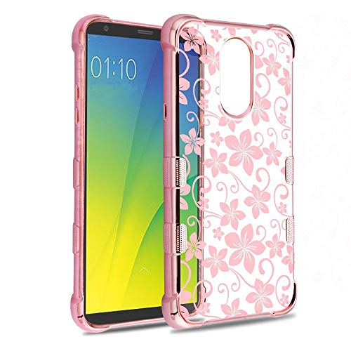 JoJoGold Phone Case for LG Stylo 4 / Q Stylus, Slim Fit Transparent Bumper Cover Made of Polycarbonate TPU, Comes with Screen Protector and Stylus - Hibiscus Flowers