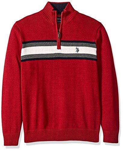 U.S. Polo Assn. Men's Tri-Color Chest Stripe 1/4 Zip Sweater, Apple Cinnamon, Medium