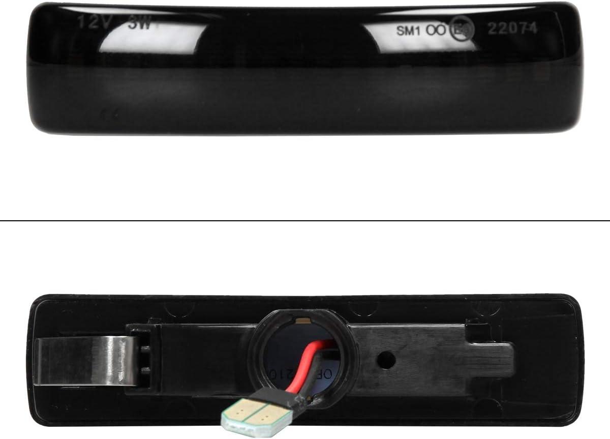 ECD Germany 2 St/ück LED Seitenblinker Smoke 12 V Blinker Seitenblinkerleuchte Blinkerleuchte Laufblinker Plug /& Play Technik E9 Pr/üfzeichen Schwarz