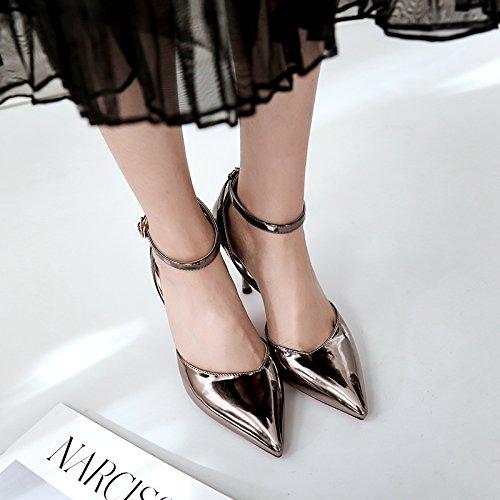 Donna e con sottile Scarpe alti scanalata Punta tacchi scarpe cavit pelle luce piccolo verniciata nero i in cinghia singole Scarpe PwEapExqSn