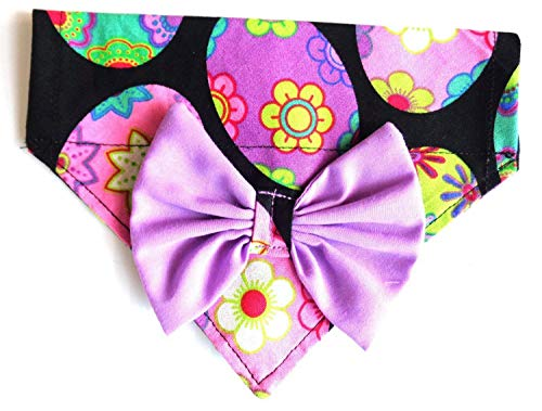 SMALL 2 in 1 Bandana Purple Bow Colored Easter Eggs Print Over the collar Slip On NO TIE Dog Bandana, Spring Accessories, Petwear Fashion Neckwear