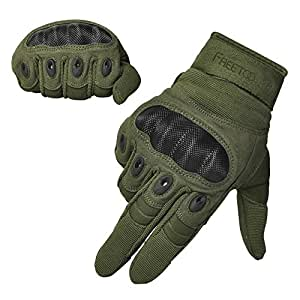 "FREETOO Tactical Gloves Military Rubber Hard Knuckle Outdoor Gloves (Army Green Full Finger, L:9""-9.2"" Circumference Finger Length: 3.3"")"