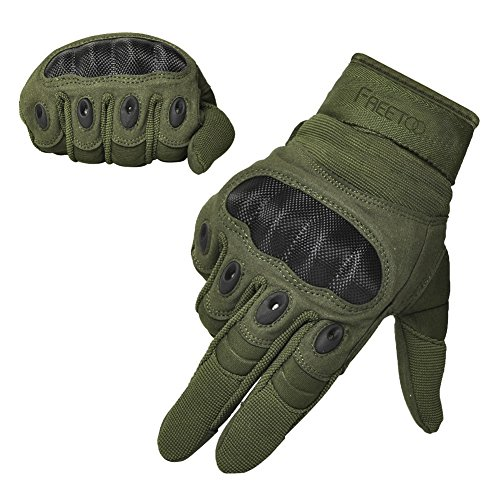 FREETOO Tactical Gloves Military Rubber Hard Knuckle Outdoor Gloves (Army Green Full Finger, XL:9.2