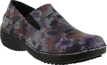 Spring Step Women's Ferrara Work Shoe,Black Multi Mosaic Print Faux Leather,7.5 B(M) US