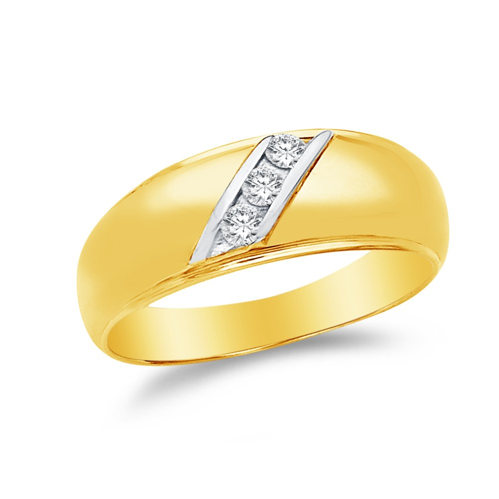 12 Jewel Tie Solid 14k Yellow Gold Cubic Zirconia CZ Round Mens Wedding Ring Band Size