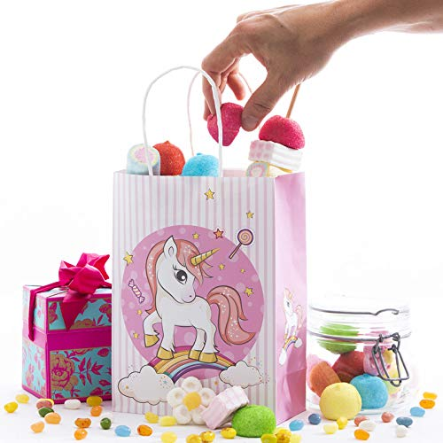 12 Pack Unicorn Kids Birthday Favor Party Bags, For Favors, Gifts, Goodies, Candy and Treats! Decoracion De Unicornio Para Cumpleaños! Cute And Unique Design on All 4 Sides!