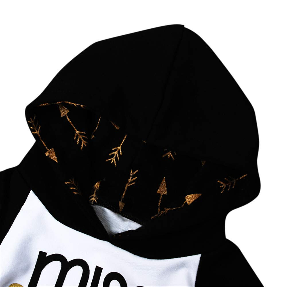Clothing Set for Baby Toddler Girl Long Sleeve Hooded Top and Arrow Print Pants