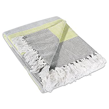 DII 100% Cotton Chevron  Herringbone Throw for Indoor/Outdoor Use Camping BBQ's Beaches Everyday Blanket - 50 x 60 , Chevron Stripe Yellow