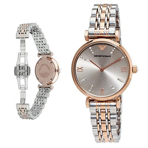 Al Barr Overseas New Emporio Armani AR1840 Classic Silver & Rose Gold Tone Ladies Wrist Watch with Box
