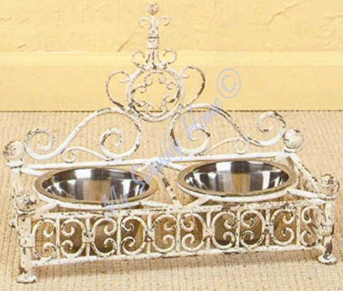 - Country French Iron Scroll Dog Pet Feeder Bowl Dish | White Cream Paris Cottage