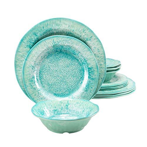 Melamine Dinnerware Set 12 Pcs Durable Dishware Plate Bowl Set Dishwasher Safe Shatter Proof Chip Resistant Not…