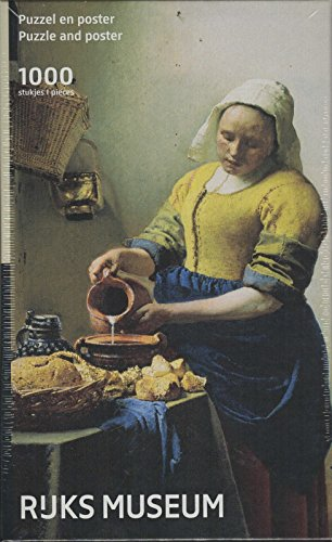 Puzzleman 1000 Piece Puzzle with Poster - Rejks Museum: The Milkmaid By Johannes Vermeer