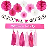 Baby Shower Decorations for Girl:Its A Girl Banner,Mom to Be Sash,Paper Fans,Honey Comb Balls,Tassel/Girl Baby Shower Decorations,its a Girl Baby Shower Decorations,Baby Shower Decorations Girl Pink