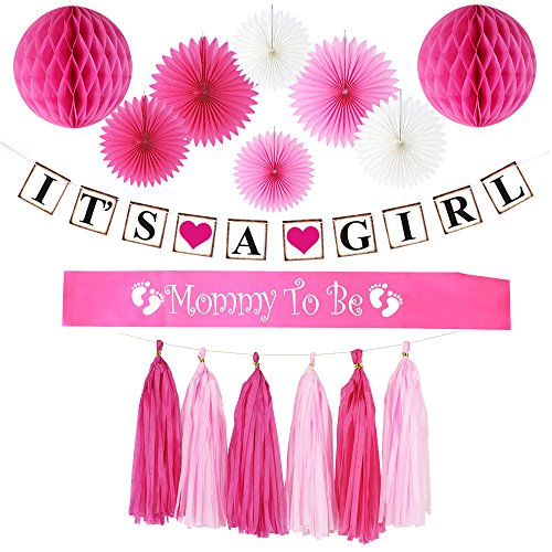 Baby Shower Decorations for Girl:Its A Girl Banner,Mom to Be Sash,Paper Fans,Honey Comb Balls,Tassel/Girl Baby Shower Decorations,its a Girl Baby Shower Decorations,Baby Shower Decorations Girl Pink by Gemich