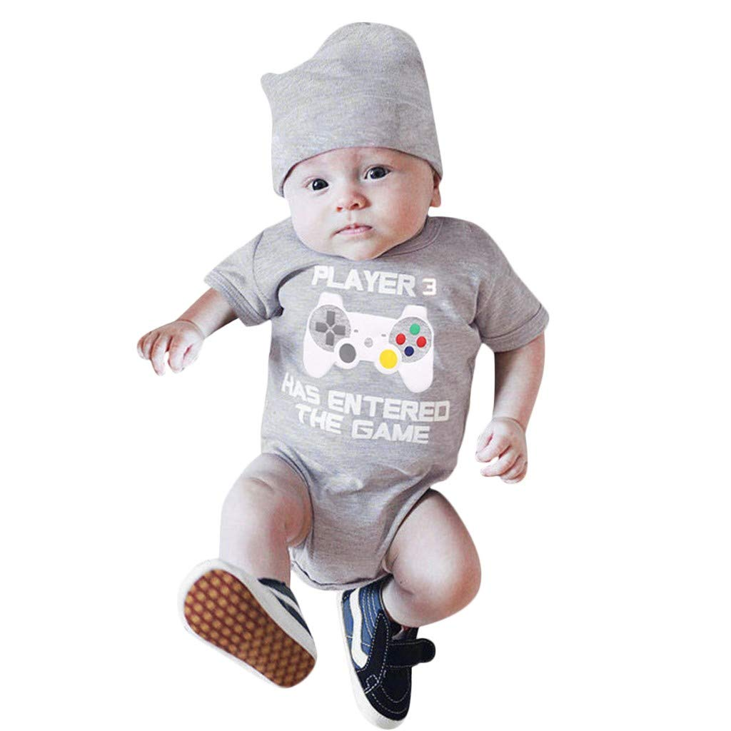 NUWFOR Toddler Newborn Baby Short Sleeved Letter Print Romper Tops+Hat Set Outfit(Gray,18-24Months