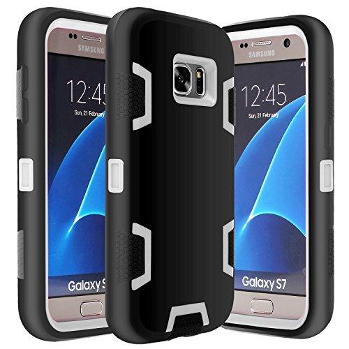 Galaxy S7 Case, E LV Samsung Galaxy S7 - Hybrid Defender Rugged Shockproof Dirtproof Case Cover for Samsung Galaxy S7 - [BLACK / GREY]