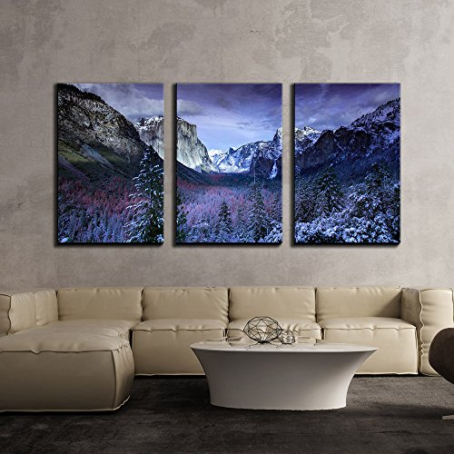 Winter Landscape with Mountain and Trees x3 Panels
