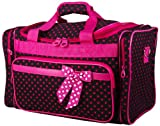 Black & Hot Pink/Fuchsia Polka Dot Duffel Bag~ great for travel or dance