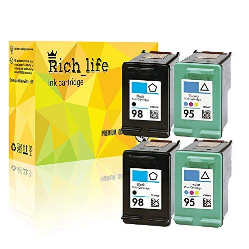 - Rich_life Remanufactured Ink Cartridge Replacement for HP 95 C8766WN & HP 98 C9364WN for HP Printer Officejet Deskjet Photosmart 4 Pack(2 Black+2Tri-Color)