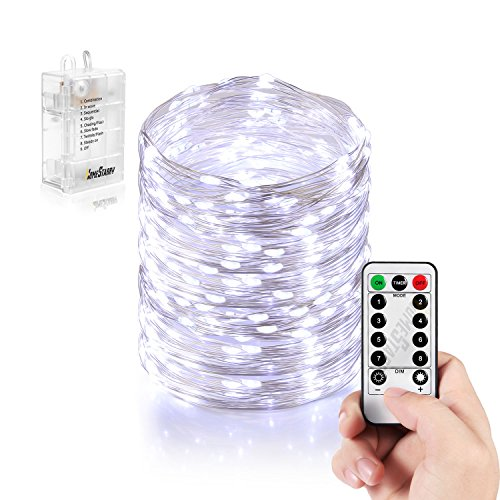 Homestarry Led String Lights Battery Powered Cool White String Lights With Remote 132leds Indoor Decorative Silver Wire Lights For Bedroom Patio Outdoor