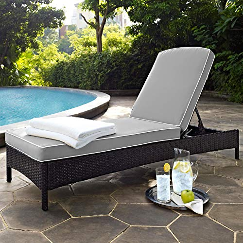 Crosley Furniture Palm Harbor Outdoor Wicker Chaise Lounge with Grey Cushions - Brown