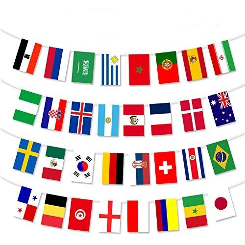 2018 FIFA World Cup Flags,Russia Soccer Football Flag,Extra Large Size 32 Country Flag Bunting 8x 12 for Bar Party,Fans,Sport Clubs Decorations